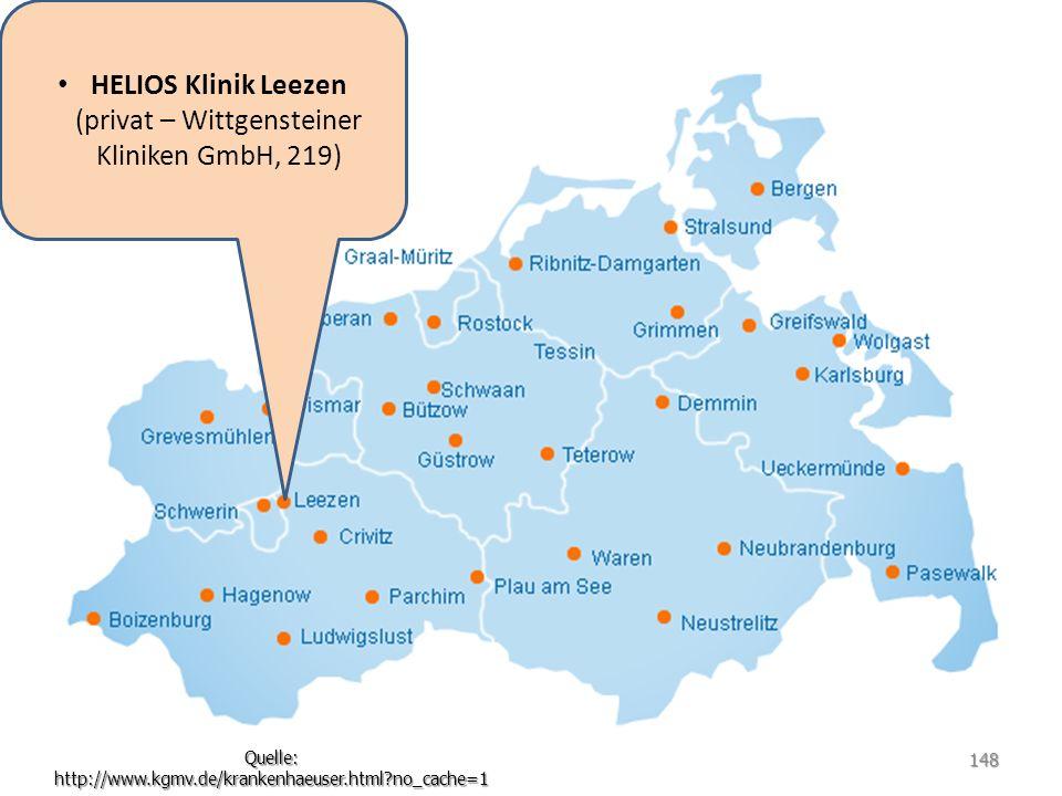 HELIOS Klinik Leezen (privat – Wittgensteiner Kliniken GmbH, 219) Quelle: http://www.kgmv.de/krankenhaeuser.html?no_cache=1 148