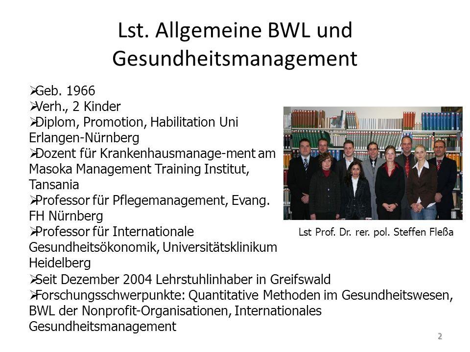 Lst. Allgemeine BWL und Gesundheitsmanagement Geb. 1966 Verh., 2 Kinder Diplom, Promotion, Habilitation Uni Erlangen-Nürnberg Dozent für Krankenhausma