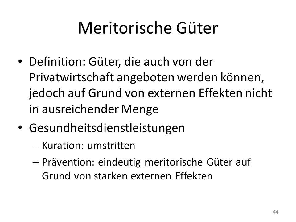 Meritorische Güter Definition: Güter, die auch von der Privatwirtschaft angeboten werden können, jedoch auf Grund von externen Effekten nicht in ausre