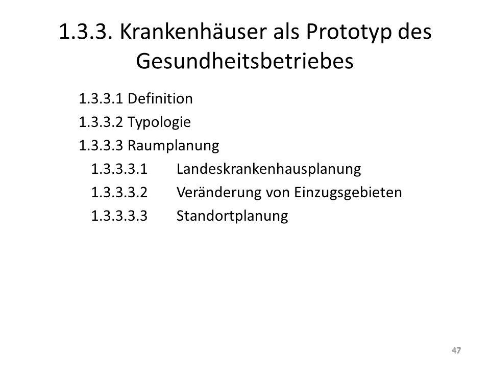 1.3.3. Krankenhäuser als Prototyp des Gesundheitsbetriebes 1.3.3.1 Definition 1.3.3.2 Typologie 1.3.3.3 Raumplanung 1.3.3.3.1 Landeskrankenhausplanung