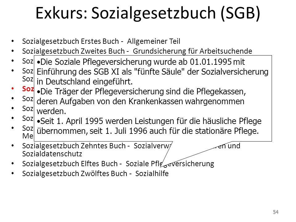 Exkurs: Sozialgesetzbuch (SGB) Sozialgesetzbuch Erstes Buch - Allgemeiner Teil Sozialgesetzbuch Zweites Buch - Grundsicherung für Arbeitsuchende Sozia