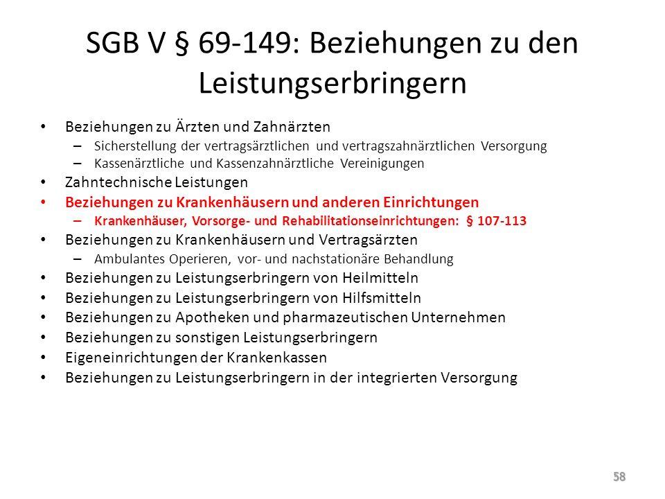 SGB V § 69-149: Beziehungen zu den Leistungserbringern Beziehungen zu Ärzten und Zahnärzten – Sicherstellung der vertragsärztlichen und vertragszahnär