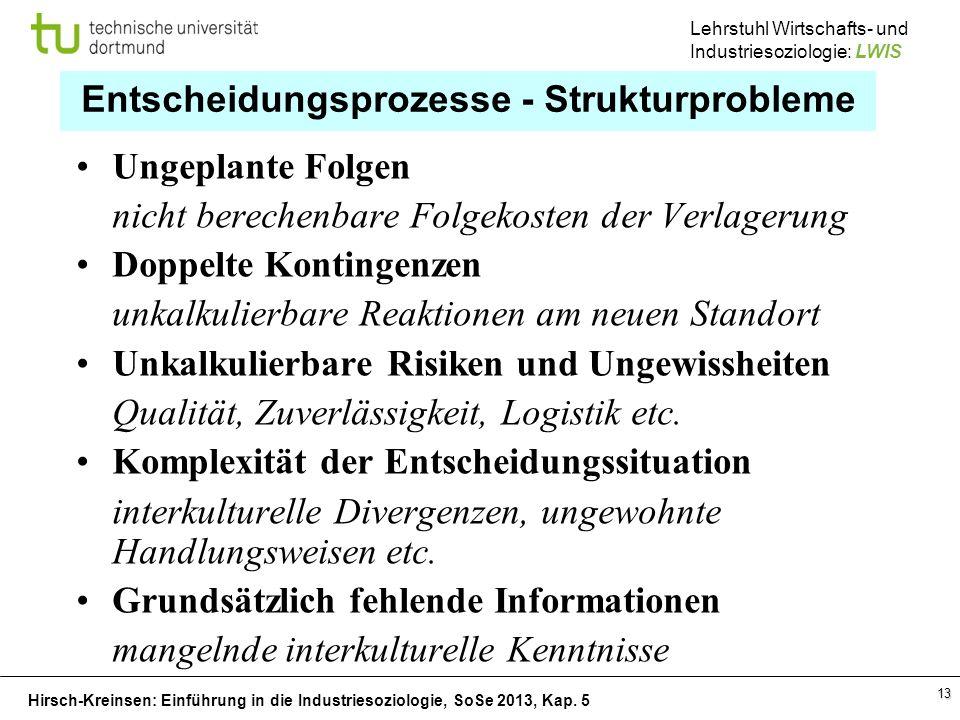 Hirsch-Kreinsen: Einführung in die Industriesoziologie, SoSe 2013, Kap. 5 Lehrstuhl Wirtschafts- und Industriesoziologie: LWIS 13 Entscheidungsprozess