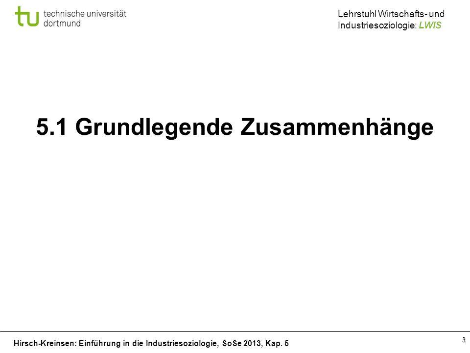 Hirsch-Kreinsen: Einführung in die Industriesoziologie, SoSe 2013, Kap. 5 Lehrstuhl Wirtschafts- und Industriesoziologie: LWIS 3 5.1 Grundlegende Zusa