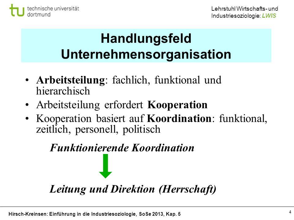 Hirsch-Kreinsen: Einführung in die Industriesoziologie, SoSe 2013, Kap. 5 Lehrstuhl Wirtschafts- und Industriesoziologie: LWIS 4 Handlungsfeld Unterne