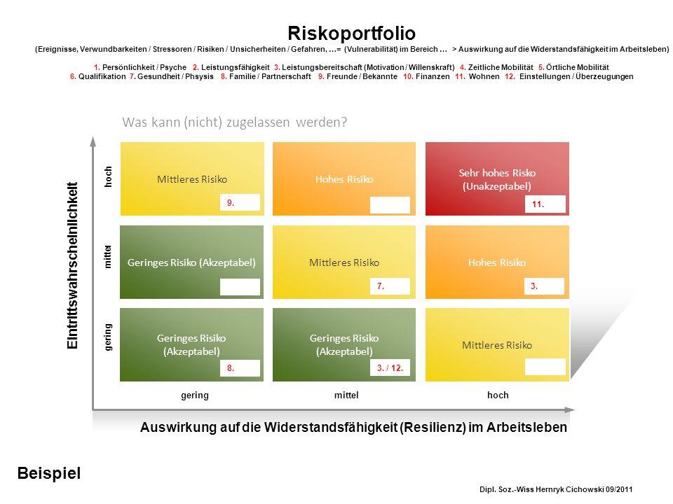 Sehr hohes Risko (Unakzeptabel) Riskoportfolio (Ereignisse, Verwundbarkeiten / Stressoren / Risiken / Unsicherheiten / Gefahren, …= (Vulnerabilität) i