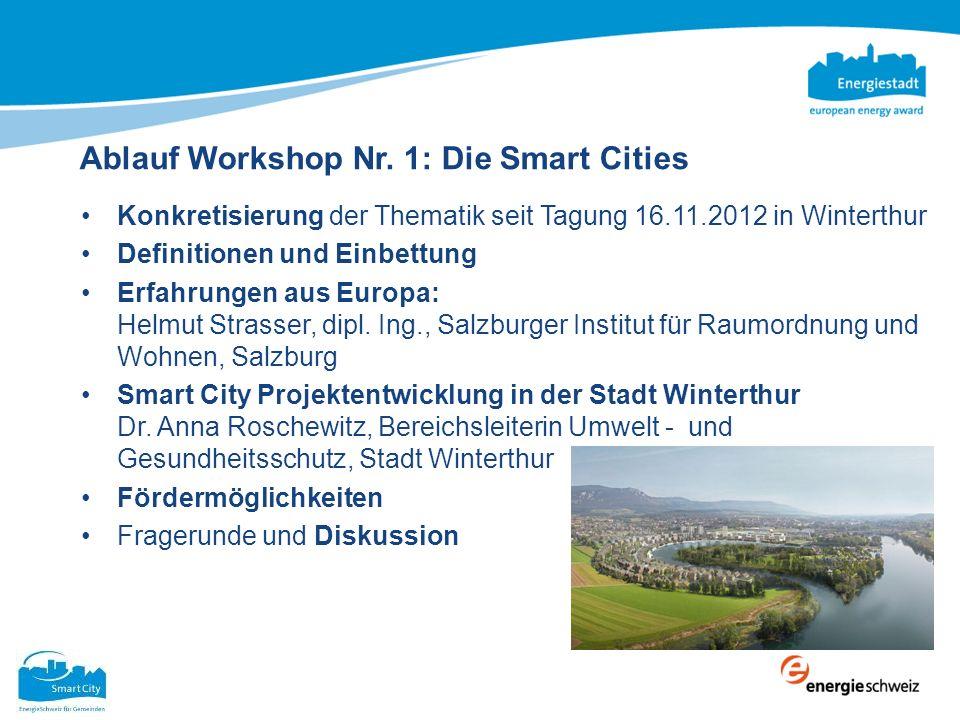 Ablauf Workshop Nr. 1: Die Smart Cities Konkretisierung der Thematik seit Tagung 16.11.2012 in Winterthur Definitionen und Einbettung Erfahrungen aus