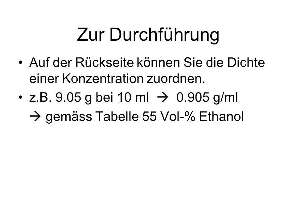 Zur Durchführung Auf der Rückseite können Sie die Dichte einer Konzentration zuordnen. z.B. 9.05 g bei 10 ml 0.905 g/ml gemäss Tabelle 55 Vol-% Ethano