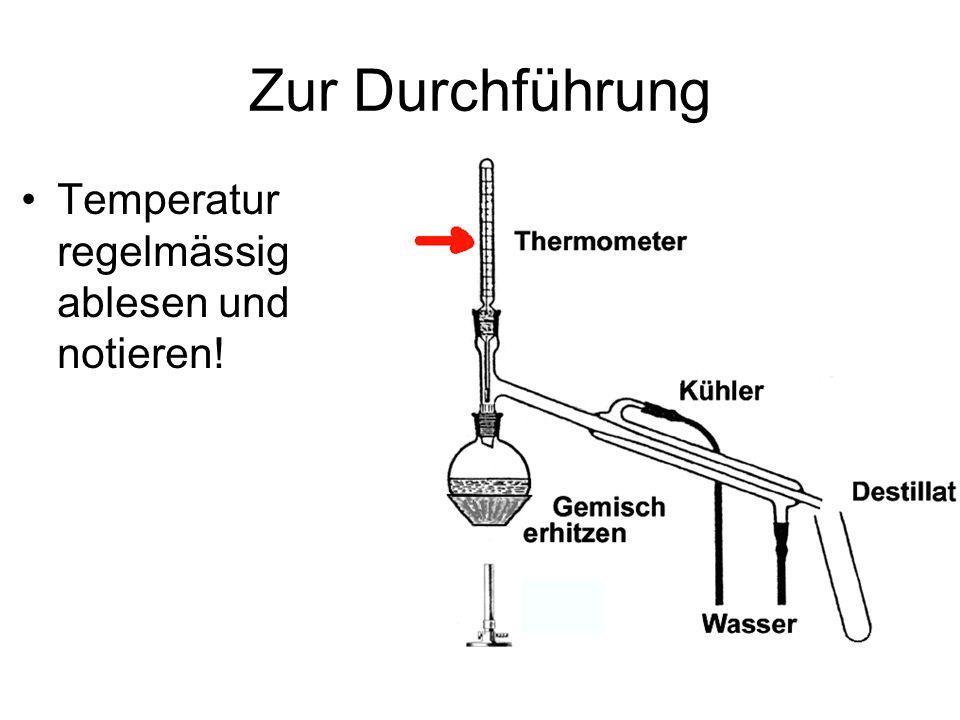 Zur Durchführung Temperatur regelmässig ablesen und notieren!