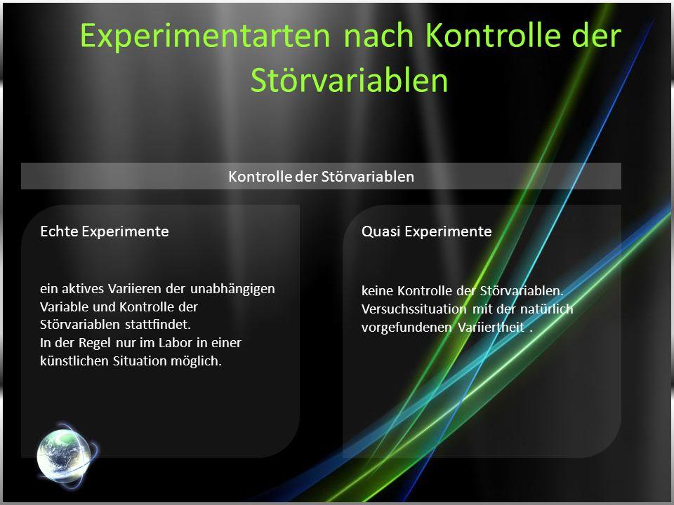 Experimentarten nach Kontrolle der Störvariablen Echte Experimente ein aktives Variieren der unabhängigen Variable und Kontrolle der Störvariablen sta