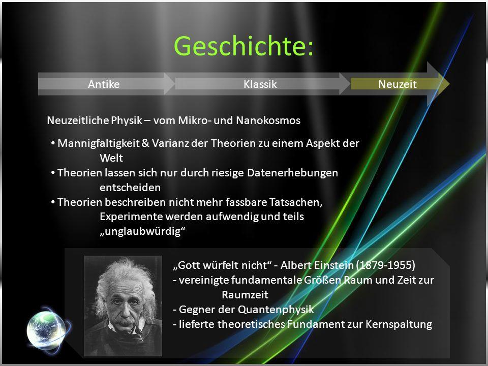 Geschichte: AntikeKlassikNeuzeit Neuzeitliche Physik – vom Mikro- und Nanokosmos Mannigfaltigkeit & Varianz der Theorien zu einem Aspekt der Welt Theo