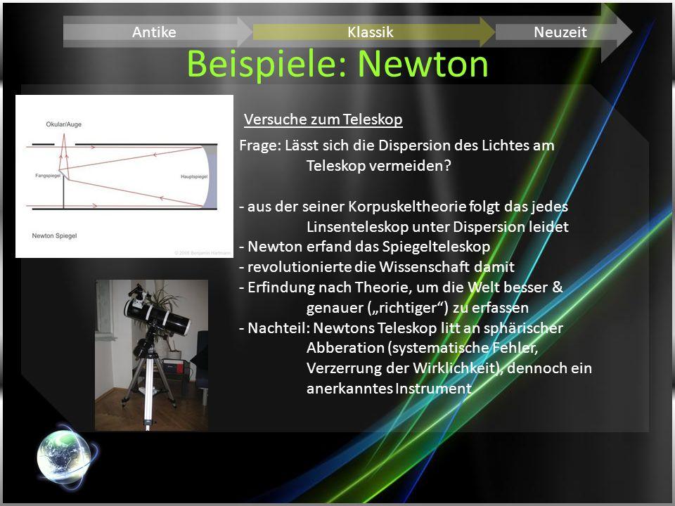 Beispiele: Newton AntikeKlassikNeuzeit Versuche zum Teleskop Frage: Lässt sich die Dispersion des Lichtes am Teleskop vermeiden? - aus der seiner Korp