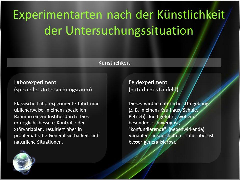 Experimentarten nach der Künstlichkeit der Untersuchungssituation Laborexperiment (spezieller Untersuchungsraum) Klassische Laborexperimente führt man