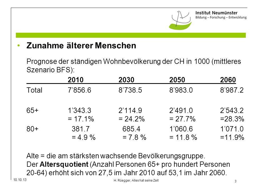 10.10.13 3 H. Rüegger, Alles hat seine Zeit Zunahme älterer Menschen Prognose der ständigen Wohnbevölkerung der CH in 1000 (mittleres Szenario BFS): 2