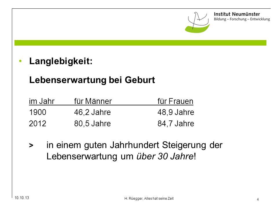 10.10.13 4 H. Rüegger, Alles hat seine Zeit Langlebigkeit: Lebenserwartung bei Geburt im Jahrfür Männerfür Frauen 190046,2 Jahre48,9 Jahre 201280,5 Ja
