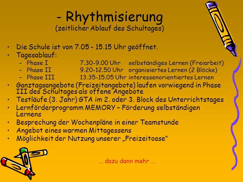 - Rhythmisierung (zeitlicher Ablauf des Schultages) Die Schule ist von 7.05 - 15.15 Uhr geöffnet. Tagesablauf: –Phase I7.30-9.00 Uhrselbständiges Lern