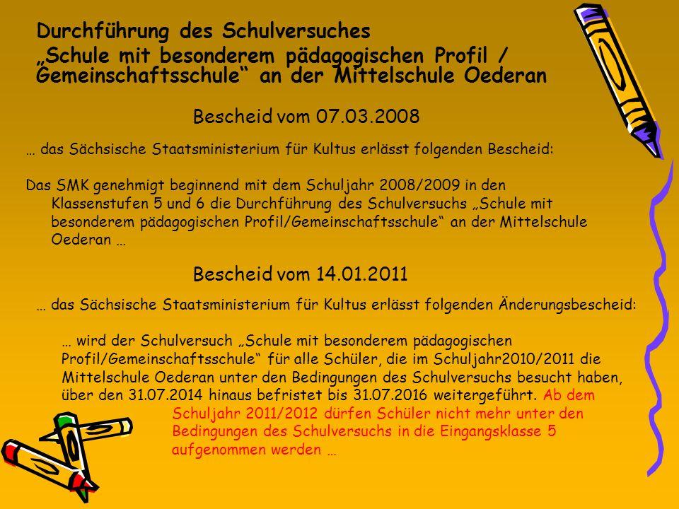 Bescheid vom 07.03.2008 Durchführung des Schulversuches Schule mit besonderem pädagogischen Profil / Gemeinschaftsschule an der Mittelschule Oederan …