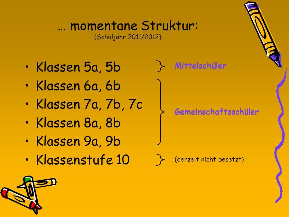 … momentane Struktur: (Schuljahr 2011/2012) Klassen 5a, 5b Klassen 6a, 6b Klassen 7a, 7b, 7c Klassen 8a, 8b Klassen 9a, 9b Klassenstufe 10 Gemeinschaf