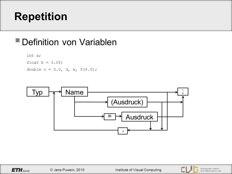 © Jens Puwein, 2010Institute of Visual Computing ASCII-Tabelle