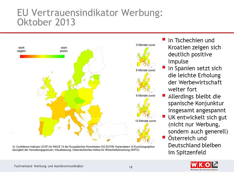 Fachverband Werbung und Marktkommunikation EU Vertrauensindikator Werbung: Oktober 2013 18 In Tschechien und Kroatien zeigen sich deutlich positive Impulse In Spanien setzt sich die leichte Erholung der Werbewirtschaft weiter fort Allerdings bleibt die spanische Konjunktur insgesamt angespannt UK entwickelt sich gut (nicht nur Werbung, sondern auch generell) Österreich und Deutschland bleiben im Spitzenfeld