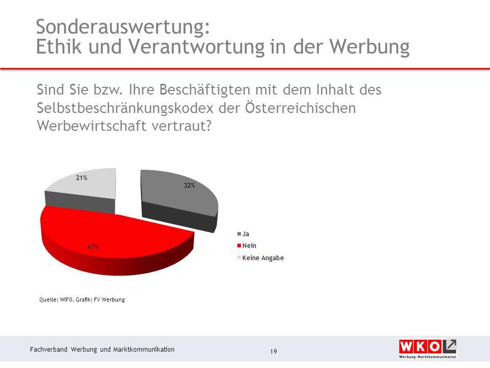 Fachverband Werbung und Marktkommunikation Sonderauswertung: Ethik und Verantwortung in der Werbung 19 Quelle: WIFO, Grafik: FV Werbung Sind Sie bzw.