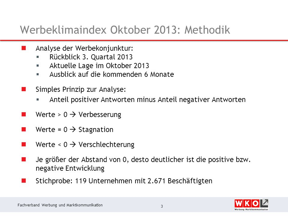 Fachverband Werbung und Marktkommunikation Werbeklimaindex Oktober 2013: Methodik Analyse der Werbekonjunktur: Rückblick 3.