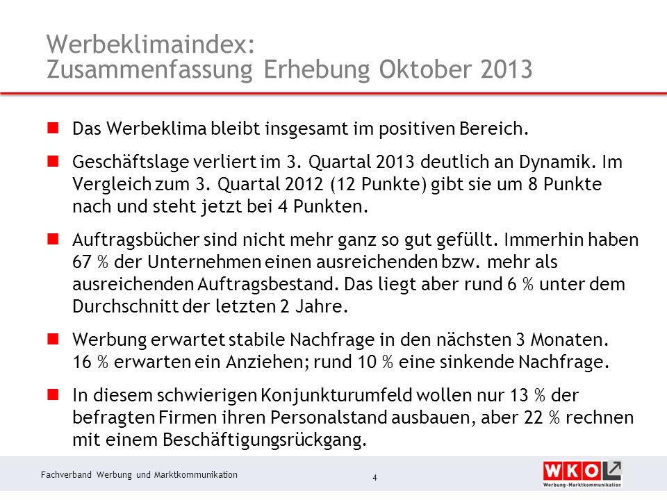 Fachverband Werbung und Marktkommunikation Werbeklimaindex: Zusammenfassung Erhebung Oktober 2013 Das Werbeklima bleibt insgesamt im positiven Bereich.
