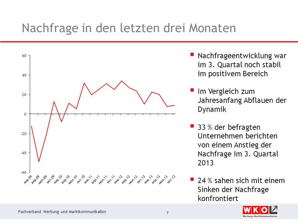 Fachverband Werbung und Marktkommunikation Nachfrage in den letzten drei Monaten 7 Nachfrageentwicklung war im 3.