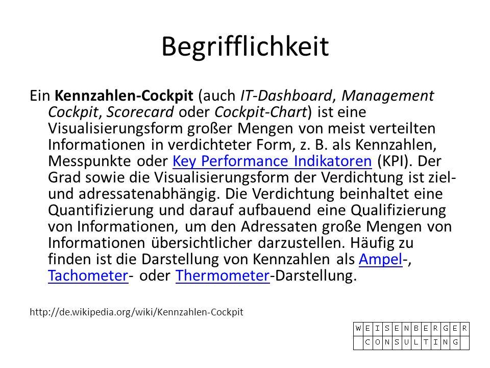 Begrifflichkeit Ein Kennzahlen-Cockpit (auch IT-Dashboard, Management Cockpit, Scorecard oder Cockpit-Chart) ist eine Visualisierungsform großer Mengen von meist verteilten Informationen in verdichteter Form, z.