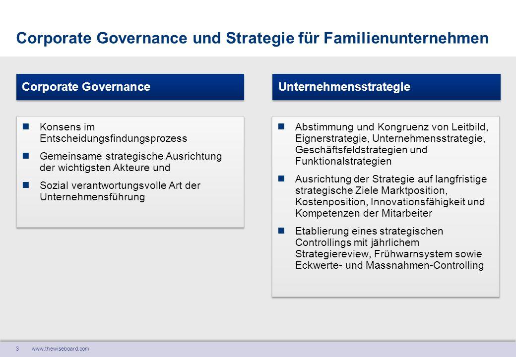 3 www.thewiseboard.com Corporate Governance und Strategie für Familienunternehmen Konsens im Entscheidungsfindungsprozess Gemeinsame strategische Ausr