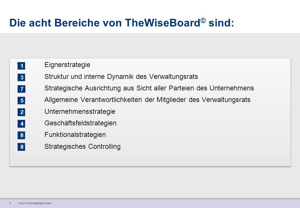 4 www.thewiseboard.com Die acht Bereiche von TheWiseBoard © sind: 1Eignerstrategie Struktur und interne Dynamik des Verwaltungsrats Strategische Ausri