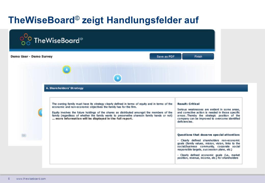 7 www.thewiseboard.com TheWiseBoard © ist ein gemeinsames Produkt von Ignaz Furger Furger und Partner AG Strategieentwicklung Hottingerstrasse 21 CH – 8032 Zürich Fon+41 44 256 80 70 Fax+41 44 256 80 79 Mailfurger@furger-partner.ch Ignaz Furger Furger und Partner AG Strategieentwicklung Hottingerstrasse 21 CH – 8032 Zürich Fon+41 44 256 80 70 Fax+41 44 256 80 79 Mailfurger@furger-partner.ch Pablo Hafner Hafner & Partners GmbH Schwerzistrasse 6 CH – 8807 Freienbach Fon+ 41 76 336 6359 Mailpabloh@hafnerandpartners.com Pablo Hafner Hafner & Partners GmbH Schwerzistrasse 6 CH – 8807 Freienbach Fon+ 41 76 336 6359 Mailpabloh@hafnerandpartners.com