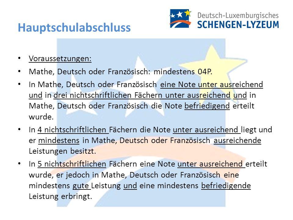 Hauptschulabschluss Voraussetzungen: Mathe, Deutsch oder Französisch: mindestens 04P.