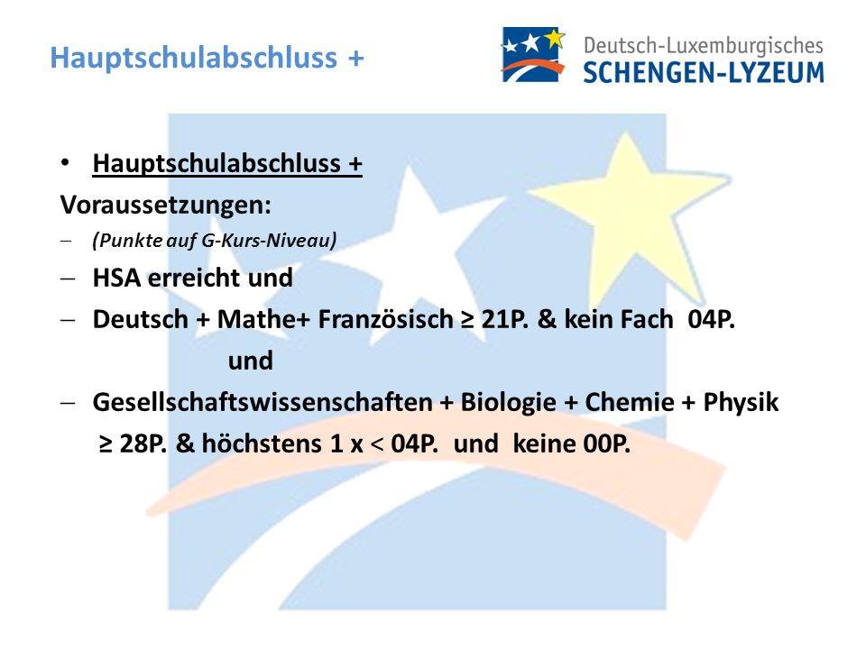 Hauptschulabschluss + Voraussetzungen: (Punkte auf G-Kurs-Niveau) HSA erreicht und Deutsch + Mathe+ Französisch 21P.