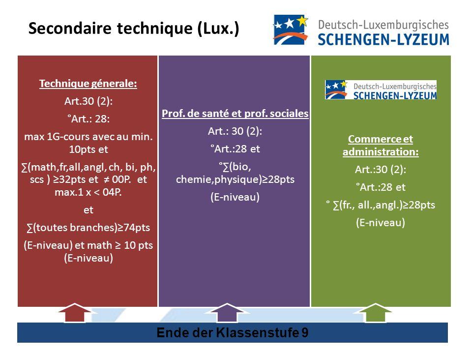 Secondaire technique (Lux.) Ende der Klassenstufe 9 Technique génerale: Art.30 (2): °Art.: 28: max 1G-cours avec au min.