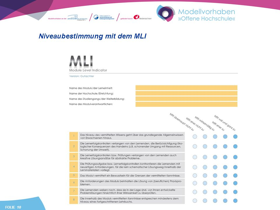 FOLIE 10 Niveaubestimmung mit dem MLI