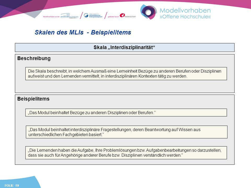 FOLIE 19 Skalen des MLIs - Beispielitems Skala Interdisziplinarität Beispielitems Das Modul beinhaltet Bezüge zu anderen Disziplinen oder Berufen. Das