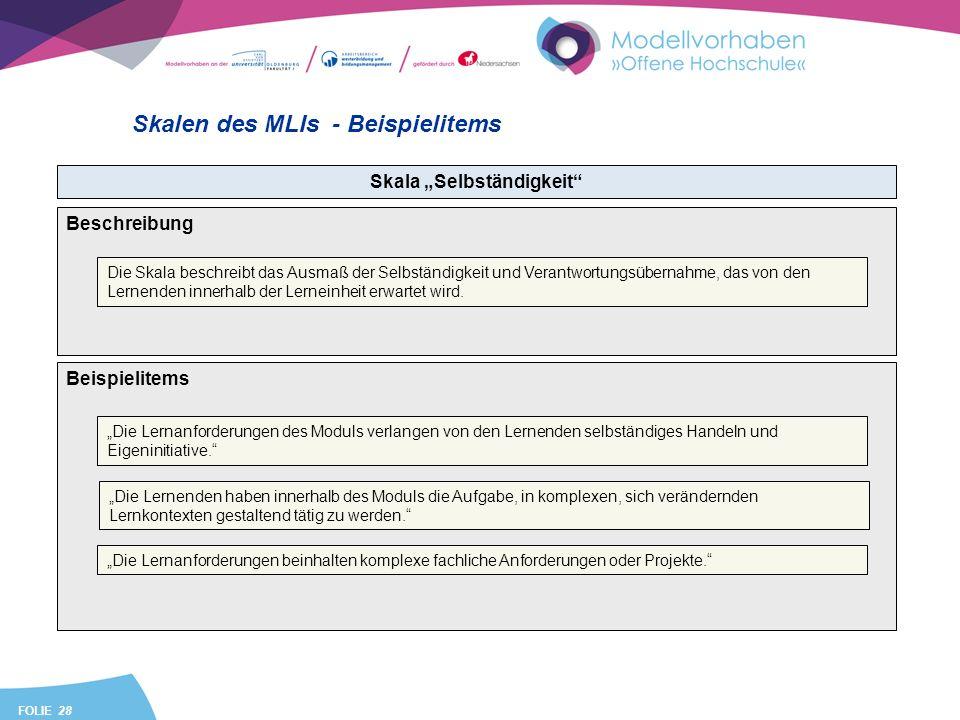 FOLIE 28 Skalen des MLIs - Beispielitems Skala Selbständigkeit Beispielitems Die Lernanforderungen des Moduls verlangen von den Lernenden selbständiges Handeln und Eigeninitiative.