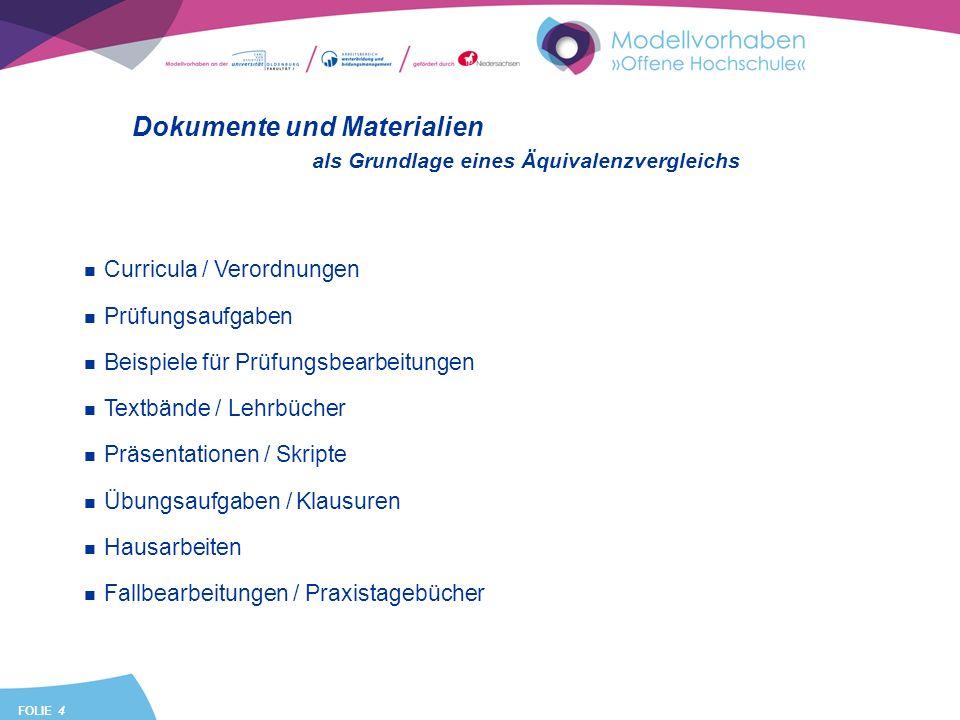 FOLIE 4 Dokumente und Materialien als Grundlage eines Äquivalenzvergleichs Curricula / Verordnungen Prüfungsaufgaben Beispiele für Prüfungsbearbeitung