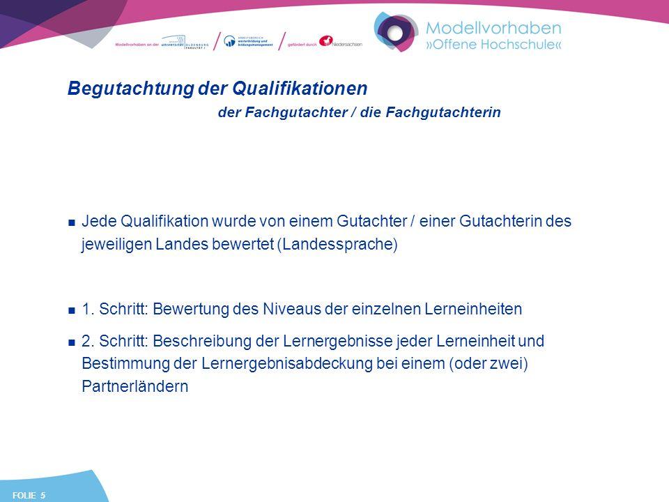 FOLIE 5 Begutachtung der Qualifikationen Jede Qualifikation wurde von einem Gutachter / einer Gutachterin des jeweiligen Landes bewertet (Landessprache) 1.