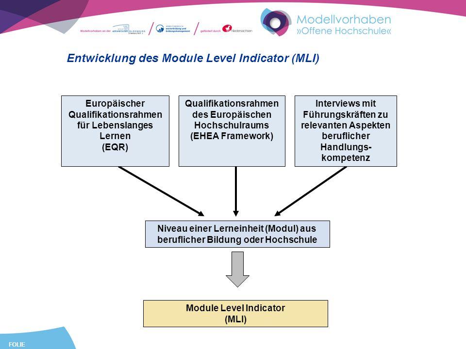 FOLIE 9 Entwicklung des Module Level Indicator (MLI) Niveau einer Lerneinheit (Modul) aus beruflicher Bildung oder Hochschule Europäischer Qualifikationsrahmen für Lebenslanges Lernen (EQR) Qualifikationsrahmen des Europäischen Hochschulraums (EHEA Framework) Interviews mit Führungskräften zu relevanten Aspekten beruflicher Handlungs- kompetenz Module Level Indicator (MLI)
