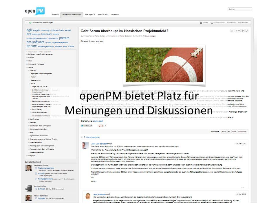 openPM bietet Platz für Meinungen und Diskussionen
