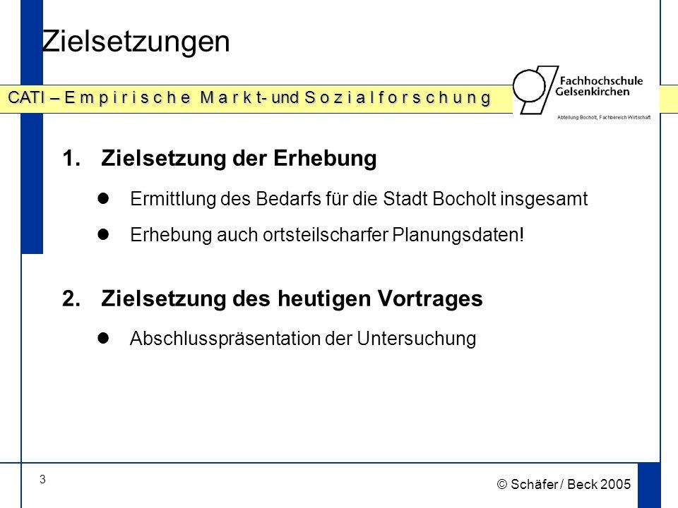 3 CATI – E m p i r i s c h e M a r k t- und S o z i a l f o r s c h u n g © Schäfer / Beck 2005 Zielsetzungen 1.