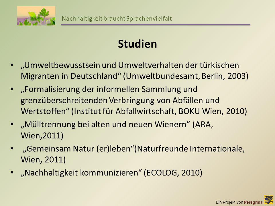Ein Projekt von Peregrina Nachhaltigkeit braucht Sprachenvielfalt Studien Umweltbewusstsein und Umweltverhalten der türkischen Migranten in Deutschlan