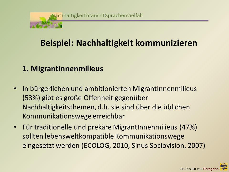 Ein Projekt von Peregrina Nachhaltigkeit braucht Sprachenvielfalt Beispiel: Nachhaltigkeit kommunizieren 1. MigrantInnenmilieus In bürgerlichen und am