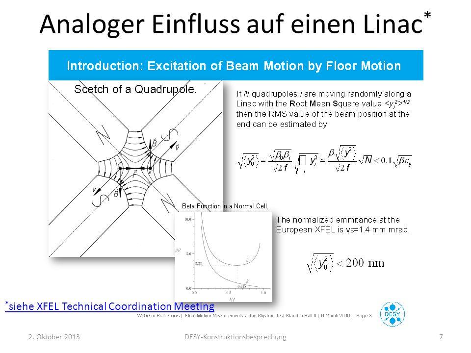 Analoger Einfluss auf einen Linac * 2. Oktober 2013DESY-Konstruktionsbesprechung7 * siehe XFEL Technical Coordination Meeting