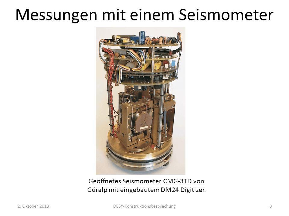 Messungen mit einem Seismometer Benutzte Instrumente: CMG- 3(6)TD von Güralp Frequenzbereich: 1/360 und 1/120 (1/60) bis 80 Hz Die physikalische Messgröße ist die Beschleunigung.