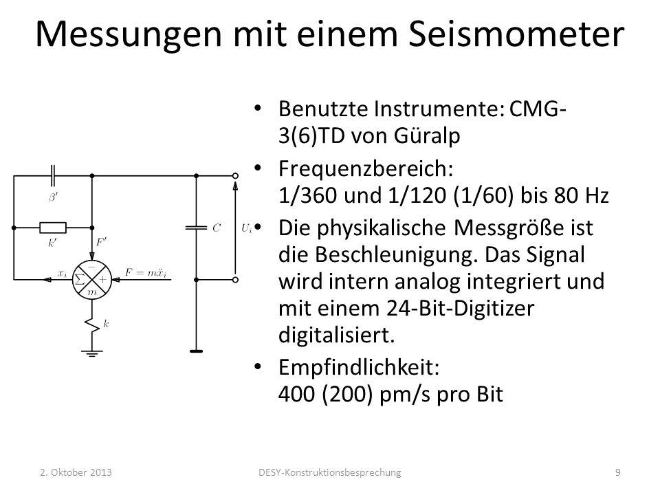 Messungen mit einem Seismometer Benutzte Instrumente: CMG- 3(6)TD von Güralp Frequenzbereich: 1/360 und 1/120 (1/60) bis 80 Hz Die physikalische Messg