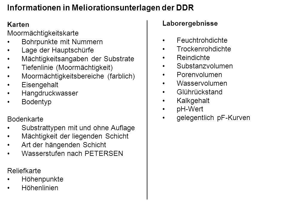 Informationen in Meliorationsunterlagen der DDR Karten Moormächtigkeitskarte Bohrpunkte mit Nummern Lage der Hauptschürfe Mächtigkeitsangaben der Subs