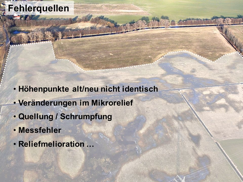 … Reliefmelioration Moormächtigkeit und Höhennivellement eines Transektes im Versumpfungsmoor Oberes Rhinluch (nach Zeitz, 2001) Auffüllung der Senken
